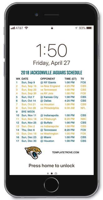 jacksonville jaguars lock screen schedule  iphone
