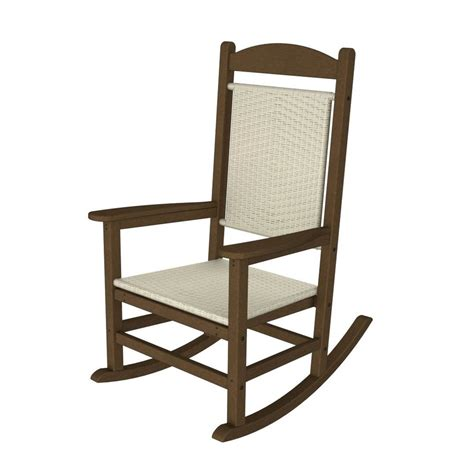 White Patio Chair Shop Polywood Presidential Teak White Loom Plastic Patio Rocking Chair At Lowes
