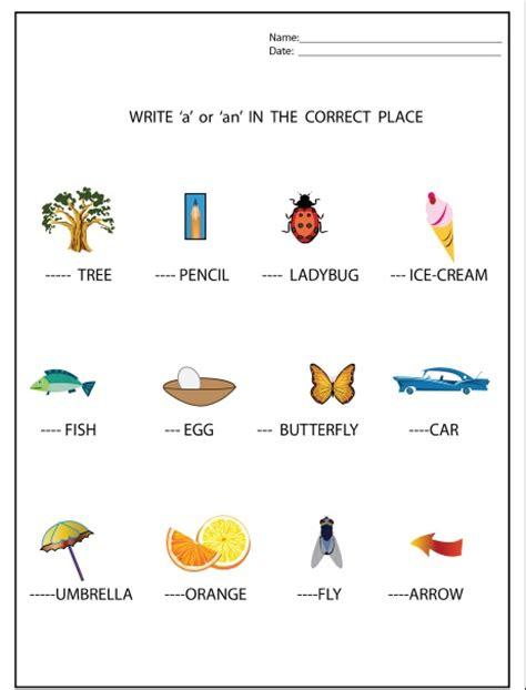 a and an worksheets for preschool a or an worksheet meet