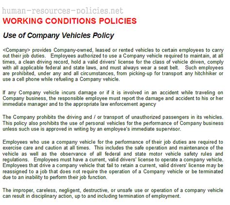 Company Policy Sle Just B Cause Company Vehicle Use Policy Template