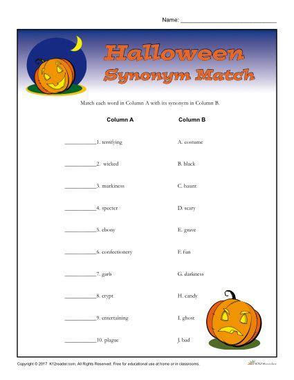 fact pattern synonym halloween worksheet activity synonym match