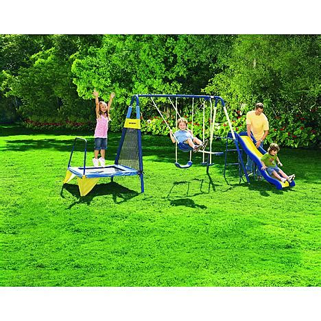 backyard metal swing sets sportspower jump n swing metal backyard swing set sears