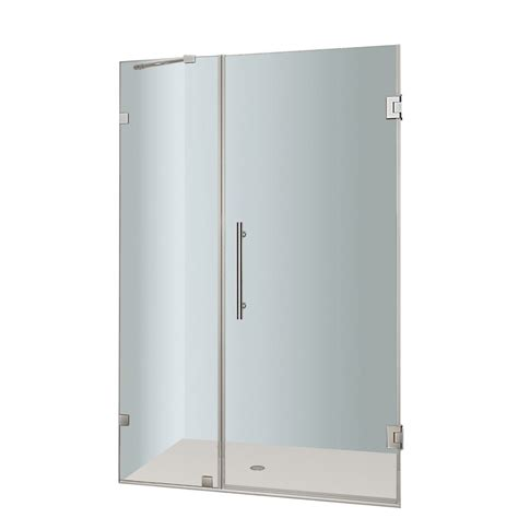38 Shower Door Aston Nautis 38 In X 72 In Completely Frameless Hinged Shower Door In Chrome The Home Depot