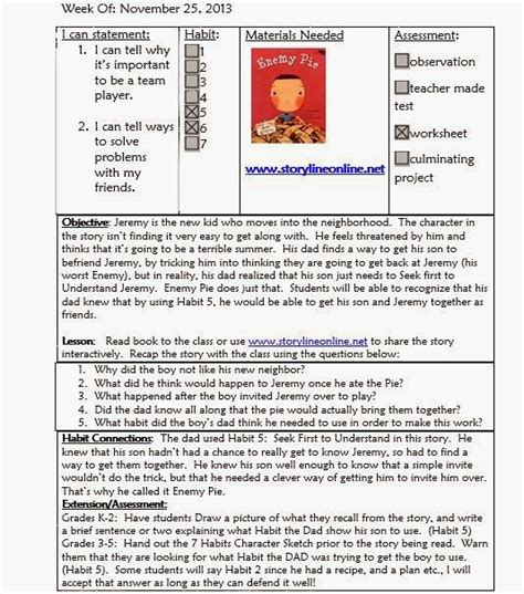 school counseling lesson plan template mrs crabtree s counseling corner sle lesson plan