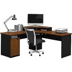 Home Office L Shaped Computer Desk Bestar Hton Corner L Shaped Home Office Computer Desk Tuscany Brown Black Staples 174