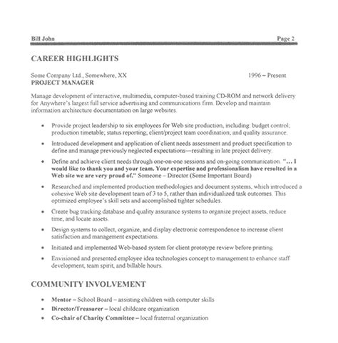 technical project manager resume format it project manager resume exle