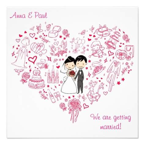 wedding invitations caricature drawings pink wedding invitation drawing wedding