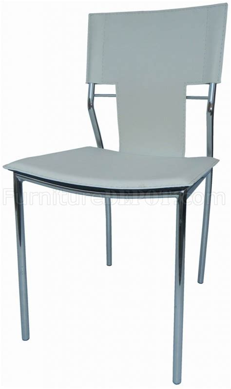 Contemporary Metal Dining Chairs Set Of 4 White Leatherette Modern Dining Chairs W Metal Legs