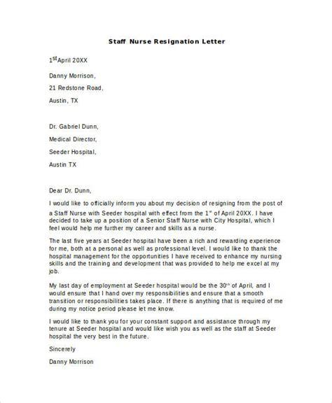 nurse resignation letter samples templates