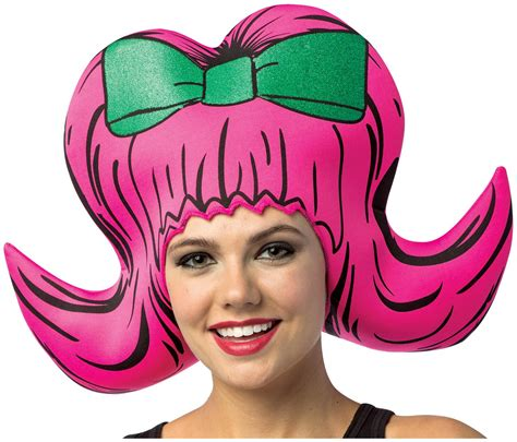 cartoon wig boufant pink partybellcom