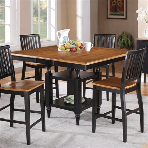 Black Counter Height Dining Table Candice Counter Height Dining Table With Butterfly In Oak And Black Cd5454pt Cd5454ptb Kit