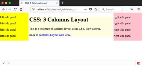 html layout with javascript css 3 columns page layout