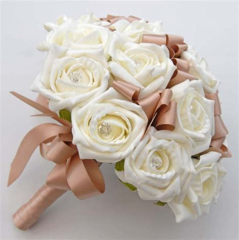 Uson White Stelan by Bridesmaids Wedding Bouquet In Ivory Roses And Mocha