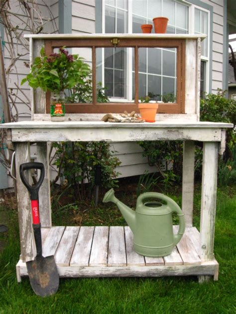 vintage potting bench shabby chic potting bench with vintage window dream garden woodworks