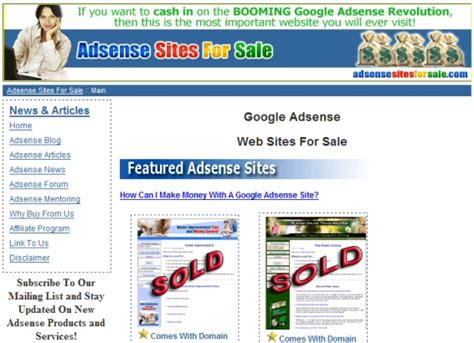 adsense websites for sale the corruption of adsense