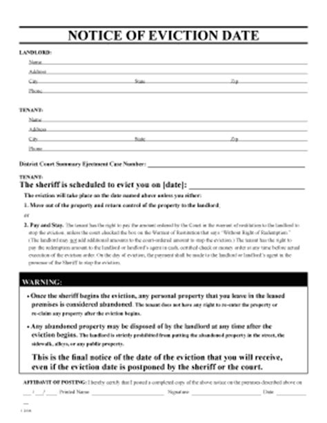 eviction notice template alberta free eviction date fill printable fillable blank