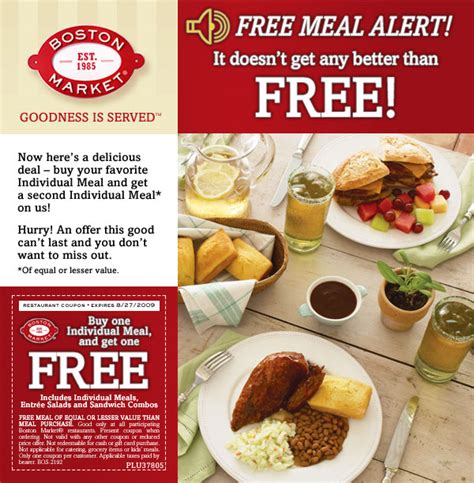To Market Dinner For One by Boston Market Bogo Coupon