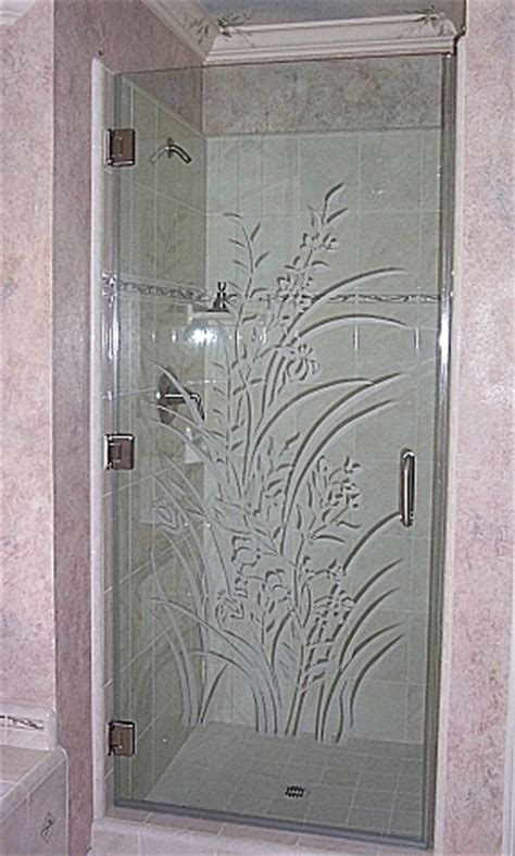Etched Glass Shower Door Designs Wood Furniture Etching Glass Designs