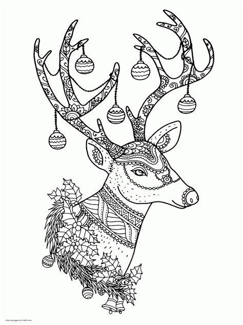 christmas coloring page 23 free printable coloring free christmas reindeer colouring pages for adults