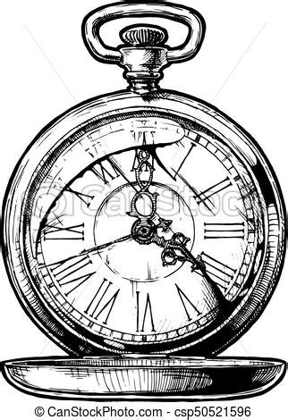 illustration of pocketwatch vector ink hand drawn eps