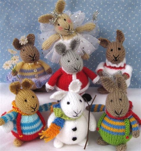 knitting pattern toys 6 bunny patterns winter in bunnyland knitted toy by