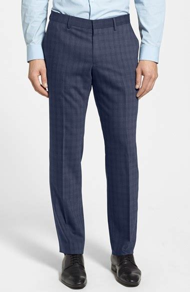 Poyid Panst Navy Sf hugo genesis flat front check trousers where to buy how to wear