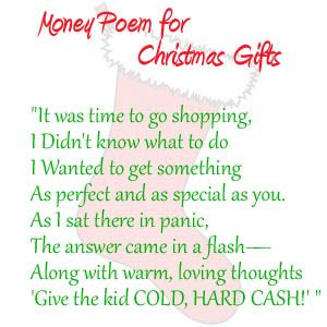 money poem for christmas gifts for kids or teens look