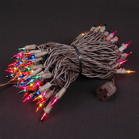 multi christmas mini lights set 100 light brown wire 50