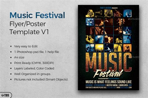 music festival flyer template v1 by lou606 graphicriver