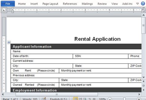 Rental Application Form For Word Word Rental Application Template