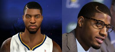 fashion for paul george part in hair nba 2k14 paul george cyberface w new hairstyle nba2k org