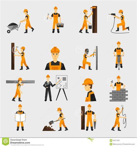 clipart muratore icone muratore piane illustrazione vettoriale