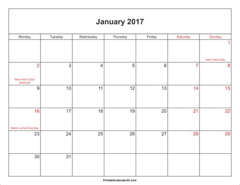 Kalender 2017 Jan January 2017 Calendar Printable With Holidays Pdf And Jpg