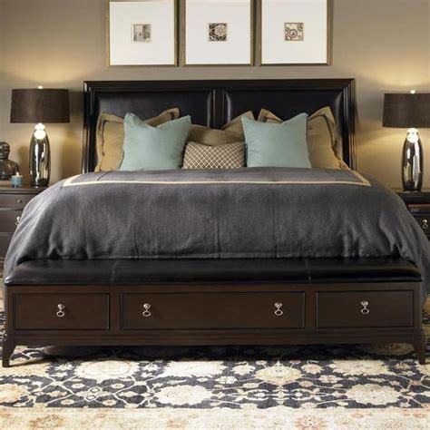 alston queen bed  leather upholstered headboard