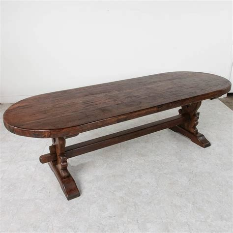 Oval Farmhouse Dining Table Grand Antique Handmade Solid Oak Oval Monastery Farm Dining Table For Sale At 1stdibs