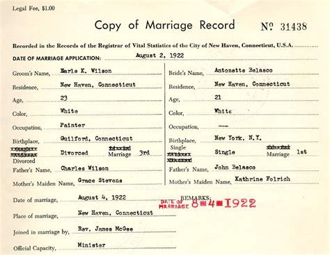Connecticut Marriage License Records Wilson Timeline