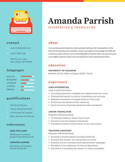 column resume template