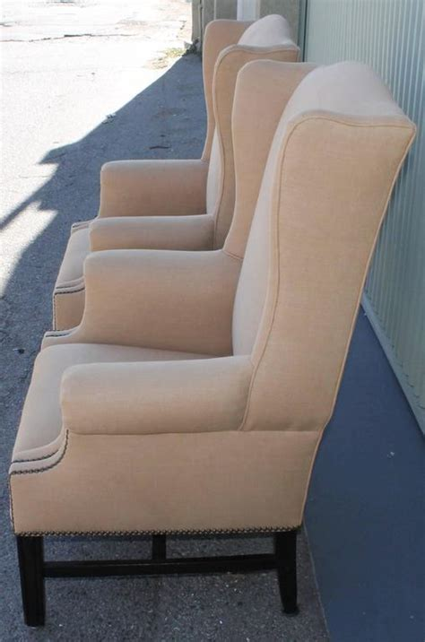 pair of fantastic 1920s wing chairs in mocha linen for