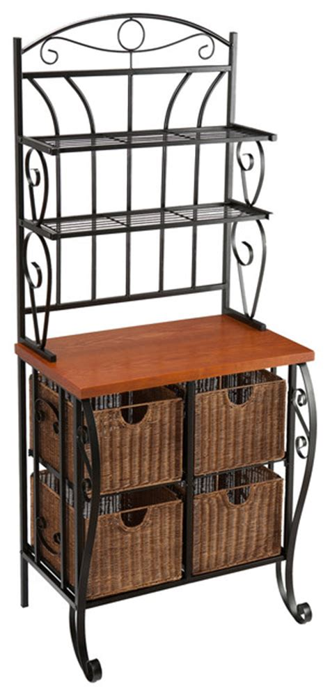 Iron Bakers Rack With Wicker Storage by Southern Enterprises Inc Lillian Iron And Rattan Iron