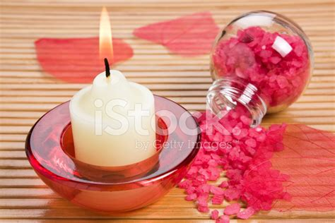 Candle Light Aromatherapy Nede02 White aroma candle and bath salt stock photos freeimages