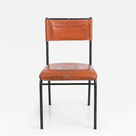 Metal And Leather Dining Chairs Jacques Adnet Pair Of Jacques Adnet Leather And Metal Dining Chairs