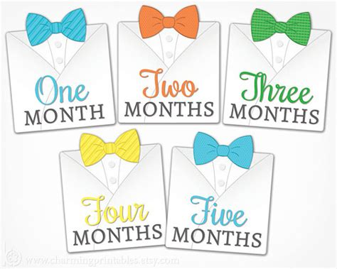 printable month numbers for baby bow tie monthly stickers printable diy instant download