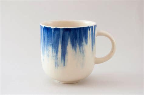 Ceramic Cup handmade ceramic mug with blue brushstrokes h 3 by