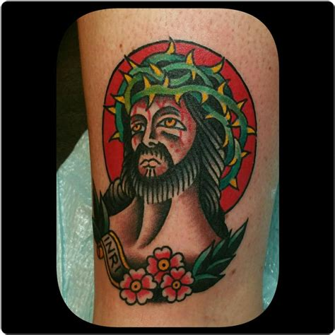 traditional jesus tattoo traditional jesus by nick tattoonow