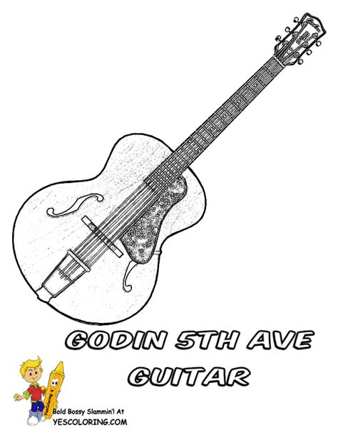acoustic guitar coloring page free coloring pages