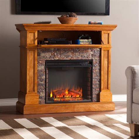 pemberly row faux stone fireplace tv stand in sienna pr