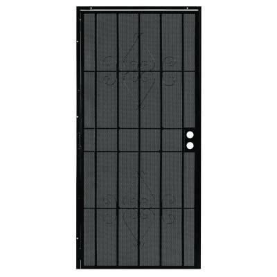 security doors home depot alert 36 in x 80 in charleston black steel prehung