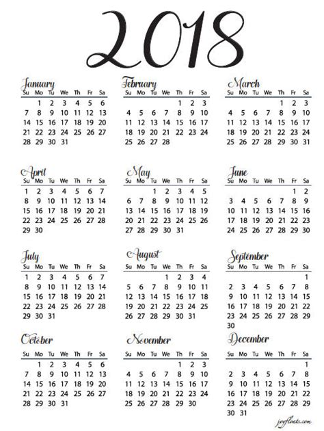 printable calendar year at a glance year at a glance calendar 2018