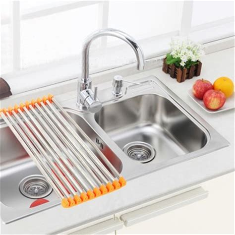Drain Racks For Kitchen Sinks 2015 Stainless Steel Roll Shelf Draining Rack Kitchen Shelves Sink Prateleira Dish Rack Dish