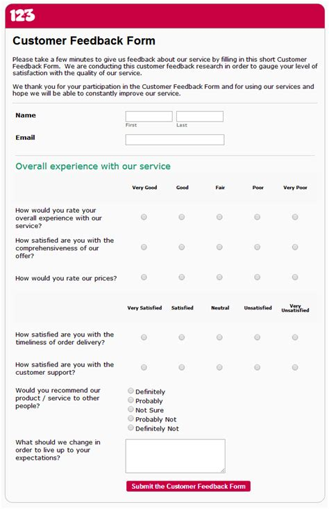 customer feedback form template free the benefits of using a customer feedback survey